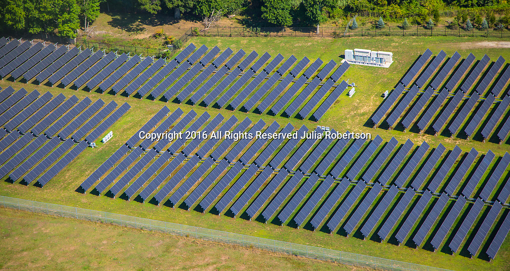 Aerial view of Solar panel farms