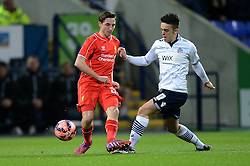 Bolton Wanderers' Zach Clough challenges Liverpool's Joe Allen - Photo mandatory by-line: Richard Martin Roberts/JMP - Mobile: 07966 386802 - 04/02/2015 - SPORT - Football - Bolton - Macron Stadium - Bolton Wanderers v Liverpool - FA Cup - Fourth Round