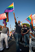 Protesters demonstrate on Santa Monica Boulevard the day the California Supreme Court upheld Proposition 8, West Hollywood, California, USA