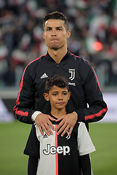 May 19, 2019 - Turin, Turin, Italy - Cristiano Ronaldo #7 of Juventus FC and Cristiano Ronaldo jr. looks on before the serie A match between Juventus FC and Atalanta BC at Allianz Stadium on May 19, 2019 in Turin, Italy. (Credit Image: © Giuseppe Cottini/NurPhoto via ZUMA Press)