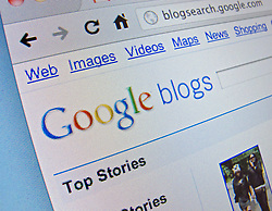 Detail of online Google blogs website homepage screen shot