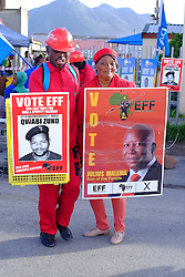 supporters of the Economic Freedom Fighters (EFF)  celebrate as they seek voters to support their party in Masiphumelele near Fish Hoek, Cape Town during the 2016 local government elections held across South Africa on the 3rd August 2016<br /> <br /> Photo by: Ron Gaunt / RealTime Images