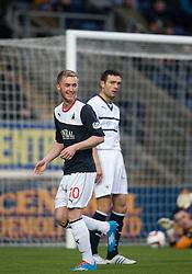 Falkirk's Craig Sibbald celebrates after scoring their first goal.<br /> Falkirk 3 v 1 Raith Rovers, Scottish Championship game at The Falkirk Stadium.