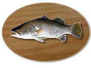 Digitally generated image of a mounted fish trophy on a wooden plaque