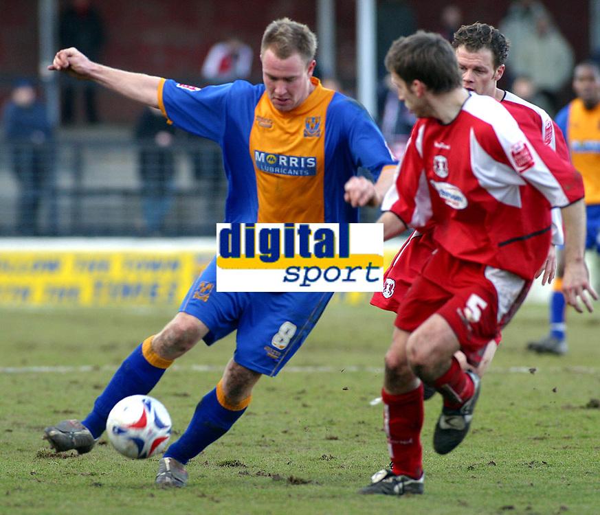 Photo: Dave Linney.<br /> Shrewsbury Town v Leyton Orient. Coca Cola League 2. 04/03/2006.<br /> Shrewsbury's Kelvin Langmead (L) goes on the attack.