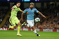Manchester City's Sergio Aguero vies for possession with Petar Stojanovic of Dinamo Zagreb<br /> <br /> Football - 2019 / 2020 UEFA Champions League - Champs Lge Grp C: Man City-D Zagreb<br /> <br /> , at Etihad Stadium<br /> <br /> Colorsport / Terry Donnelly