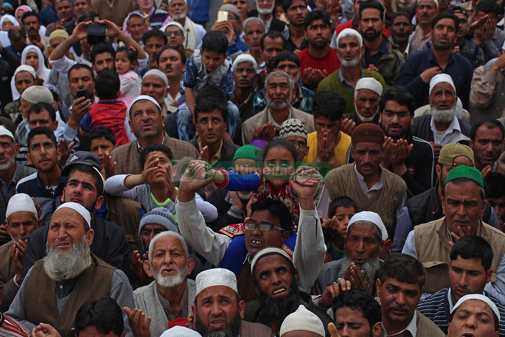 April 25, 2017 - Srinagar, Jammu and Kashmir, India - Mehraj-u-Alam was celebrated in Kashmir, which marks ascension day, the journey from Heaven to Earth of the Prophet Mohammed, at the Hazratbal Shrine on Tuesday, April 25, 2017 in the outskirts of Srinagar, India. Hundreds of Muslims from different parts of Kashmir visit the Hazratbal shrine in Srinagar to pay obeisance on the Mehraj-ul-Alam. The relic is displayed to the devotees on important Islamic days such as the Mehraj-ul-Alam. (Credit Image: © Umer Asif/Pacific Press via ZUMA Wire)