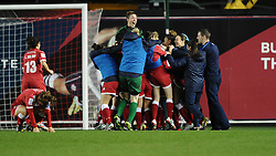 Bristol Academy Women celebrate on the final whistle  - Photo mandatory by-line: Joe Meredith/JMP - Mobile: 07966 386802 - 13/11/2014 - SPORT - Football - Bristol - Ashton Gate - Bristol Academy Womens FC v FC Barcelona - Women's Champions League