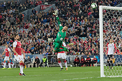 July 15, 2017 - Sydney, New South Wales, Australia - Wanderers goal keeper, Vedran Janjetovic saves a goal by deflecting the ball away.FA Cup Champions Arsenal wins 3-1 over Western Sydney Wanderers FC at ANZ Stadium. (Credit Image: © United Images/Pacific Press via ZUMA Wire)