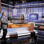 Legendary broadcaster Brent Musburger enters the set as the all new, SEC Network goes live on the air in Charlotte, N.C.. Also seen are hosts Dari Nowkhah and Maria Taylor. ©Travis Bell Photography