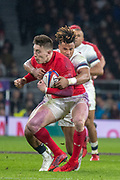 Twickenham, Surrey. UK.  Antony WATSON, wrap's up, Josh ADAMS, during the Six Nations Rugby Match, England vs Wales RFU Stadium, Twickenham. Surrey, England. on Saturday 10.02.18<br /> <br /> <br /> [Mandatory Credit Peter SPURRIER/Intersport Images]