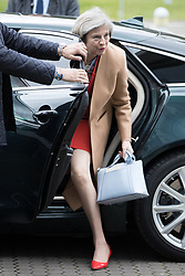 © Licensed to London News Pictures . 17/03/2017 . Cardiff , UK. Prime Minister THERESA MAY arrives at the Conservative Party Spring Conference at the SSE SWALEC Stadium in Cardiff . Photo credit: Joel Goodman/LNP