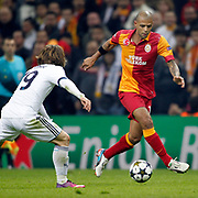 Galatasaray's Felipe Melo De Carvalho (R) during their UEFA Champions League Quarter-finals, Second leg match Galatasaray between Real Madrid at the TT Arena AliSamiYen Spor Kompleksi in Istanbul, Turkey on Tuesday 09 April 2013. Photo by Aykut AKICI/TURKPIX