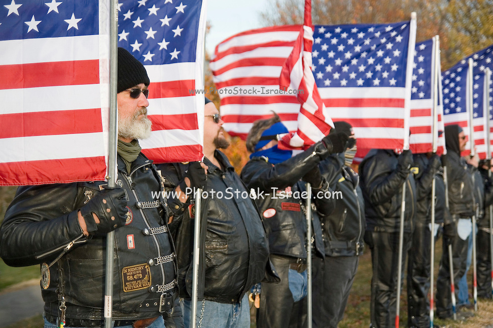 """Nebraska NE USA, A Veterans day ceremony at Omaha, NE. The """"Patriot Guard Riders"""", most of them Vietnam veterans, who try to raise awareness for war casualties and missing soldiers."""