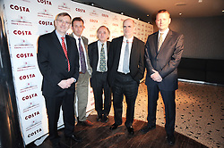 Left to right, writers GRAHAM FARMELO, RAPHAEL SELBOURNE, CHRISTOPHER REID, COLM TOIBIN, PATRICK NESS at the Costa Book Awards 2009 held at Quaglino's, 16 Bury Street, London SW1 on 26th January 2010.