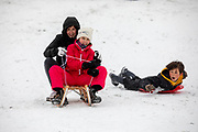 In Utrecht glijden kinderen van een heuvel in het Noordsepark. Nederland geniet van de eerste sneeuw sinds lange tijd.<br /> <br /> In Utrecht children sled from a hill. People in the Netherlands enjoy the first snow since years.