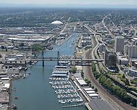 Thea Foss Waterway, Foss Harbor Marina, and the 11th Street Bridge, in the City of Tacoma.