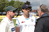 Paul Horton & Billy Godleman with match referee James Whittaker before the Specsavers County Champ Div 2 match between Leicestershire County Cricket Club and Derbyshire County Cricket Club at the Fischer County Ground, Grace Road, Leicester, United Kingdom on 27 May 2019.