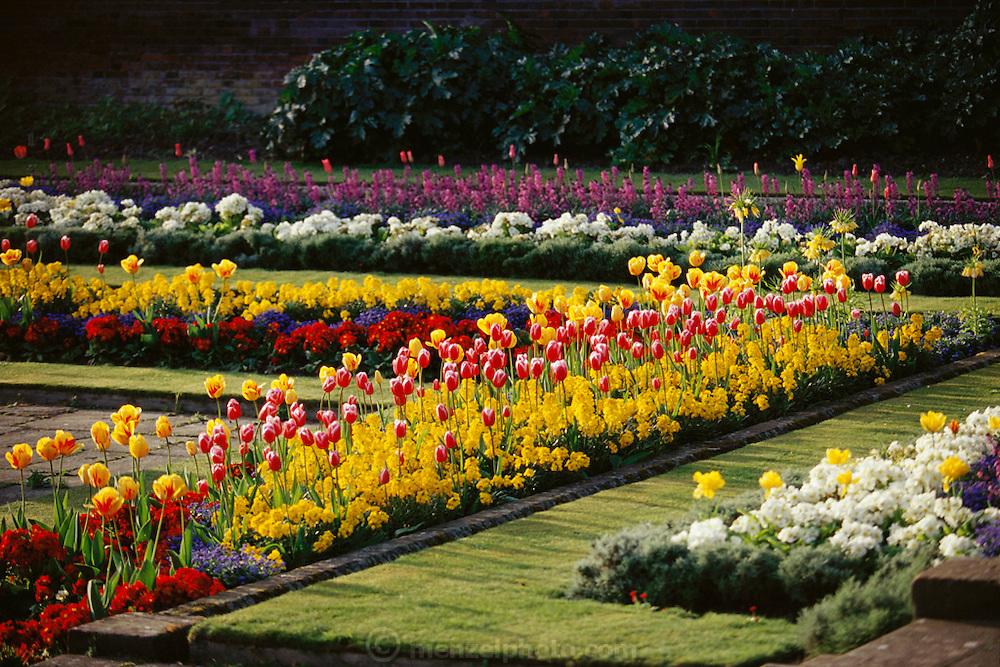 Kensington Palace sunken gardens in full summer bloom. London, England.