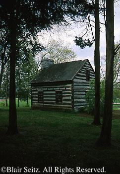 James Buchanan Log House, Mercersburg Academy Campus, Mercersburg, PA, Franklin Co.