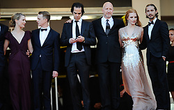 LTOR Australian actress Mia Wasikowska, US actor Dane Dehaan, Australian musician and writer Nick Cave, Australian director John Hillcoat, US actress Jessica Chastain and US actor Shia Labeoufarrives for the screening of 'Lawless' presented in competition at the 65th Cannes film festival on May 19, 2012 in Cannes. Photo Ki Price/i-Images