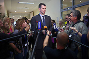 Moscow, Russia, 06/09/2011..Russian billionaire businessman Mikhail Prokhorov, newly elected leader of pro-business political party Right Cause, surrounded by media, students and staff at the Economics Faculty of the Moscow State University.