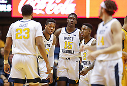Nov 24, 2018; Morgantown, WV, USA; West Virginia Mountaineers players huddle during the first half against the Valparaiso Crusaders at WVU Coliseum. Mandatory Credit: Ben Queen-USA TODAY Sports