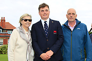 James Sugrue (GB&I) with his Mum and Dad during the Official Opening of the Walker Cup, Royal Liverpool Golf CLub, Hoylake, Cheshire, England. 06/09/2019.<br /> Picture Thos Caffrey / Golffile.ie<br /> <br /> All photo usage must carry mandatory copyright credit (© Golffile | Thos Caffrey)