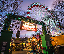 Evening view of annual Edinburgh Christmas Market in Scotland, United Kingdom