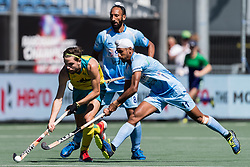 (L-R) Flynn Ogilvie of Australia, Sardar Singh of India, Mandeep Singh of India during the Champions Trophy finale between the Australia and India on the fields of BH&BC Breda on Juli 1, 2018 in Breda, the Netherlands.