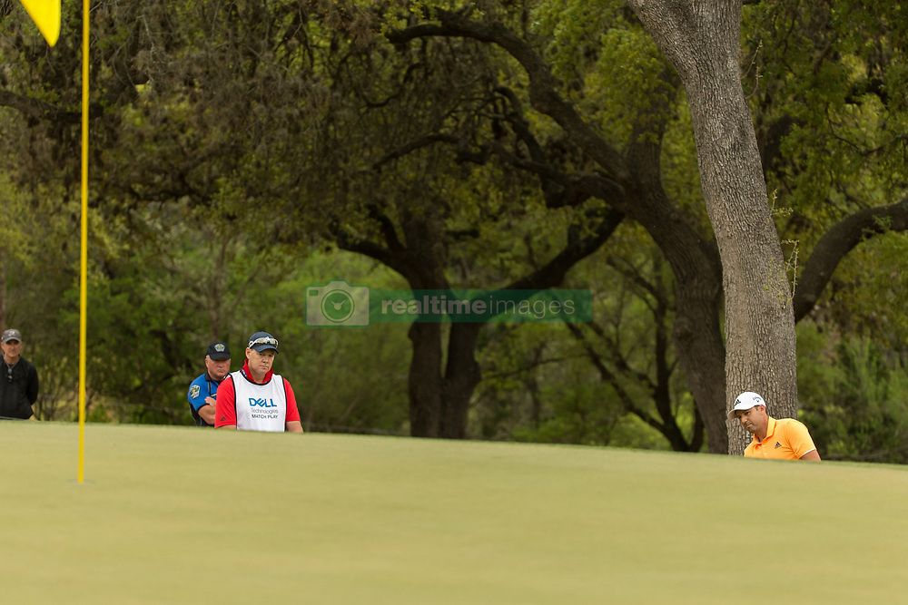 March 23, 2018 - Austin, TX, U.S. - AUSTIN, TX - MARCH 23: Sergio Garcia misses his second attempt to chip onto the sixth green from the same location during the WGC-Dell Technologies Match Play Tournament on March 22, 2018, at the Austin Country Club in Austin, TX. (Photo by David Buono/Icon Sportswire) (Credit Image: © David Buono/Icon SMI via ZUMA Press)
