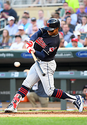 May 31, 2018 - Minneapolis, MN, U.S. - MINNEAPOLIS, MN - MAY 31: Cleveland Indians Shortstop Francisco Lindor (12) hits a double in the top of the 1st during a MLB game between the Minnesota Twins and Cleveland Indians on May 31, 2018 at Target Field in Minneapolis, MN. The Indians defeated the Twins 9-8.(Photo by Nick Wosika/Icon Sportswire) (Credit Image: © Nick Wosika/Icon SMI via ZUMA Press)