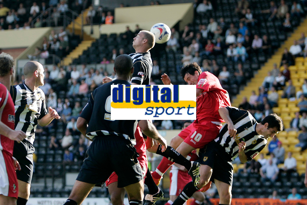 Photo: Pete Lorence.<br />Notts County v Swindon Town. Coca Cola League 2. 23/09/2006.<br />Alan White clears the ball from the penalty.
