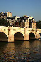 """Legend has it that after Jeanne d'Arc or """"Joan of Arc"""" was burned at the stake in 1431, her ashes were thrown into the Seine. The average depth of the Seine today at Paris is about nine and a half meters. Until locks were installed to artificially raise the level in the 1800s, however, the river was much shallower within the city most of the time, and consisted only of a small channel of continuous flow bordered by sandy banks"""