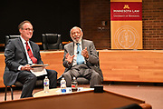 6/23/21  Civil Rights maverick, author  and Mississippi's Native son, James Meredith takes part in a roundtable discussion with students from the University of Minneapolis Law School, and it was live streamed to over 300 attorneys around the country. The law school discussion was moderated by Professor Orfield, left,  from the Law School. Meredith is in Minnesota for More Than A Moment, a series of roundtable discussions with students, educators, lawyers, and community leaders. Minnijean Brown Trickey one of the Little Rock Nine was also part of the roundtable discussions, she was connected via the internet from Ontario Canada. Meredith discussed methods and ways to combat racism in America and emphasized the importance of speaking the truth and working together to make change for the better in our communities. Photo © Suzi Altman