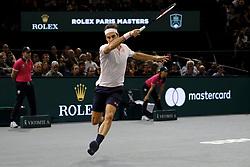 November 2, 2018 - Paris, France - Swiss player ROGER FEDERER returns the ball to Japanese player KEI NISHIKORI during the quarter final of tournament Rolex Paris Master, at AccorHotel Arena Stadium in Paris - France..Roger Federer won 6-4 6-4. (Credit Image: © Pierre Stevenin/ZUMA Wire)
