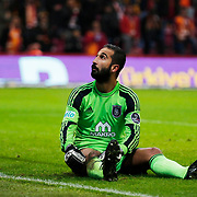 Istanbul Basaksehir's goalkeeper Volkan Babacan during their Turkish Super League soccer match Galatasaray between Istanbul Basaksehir at the AliSamiYen Spor Kompleksi TT Arena at Seyrantepe in Istanbul Turkey on Saturday, 14 March 2015. Photo by Aykut AKICI/TURKPIX