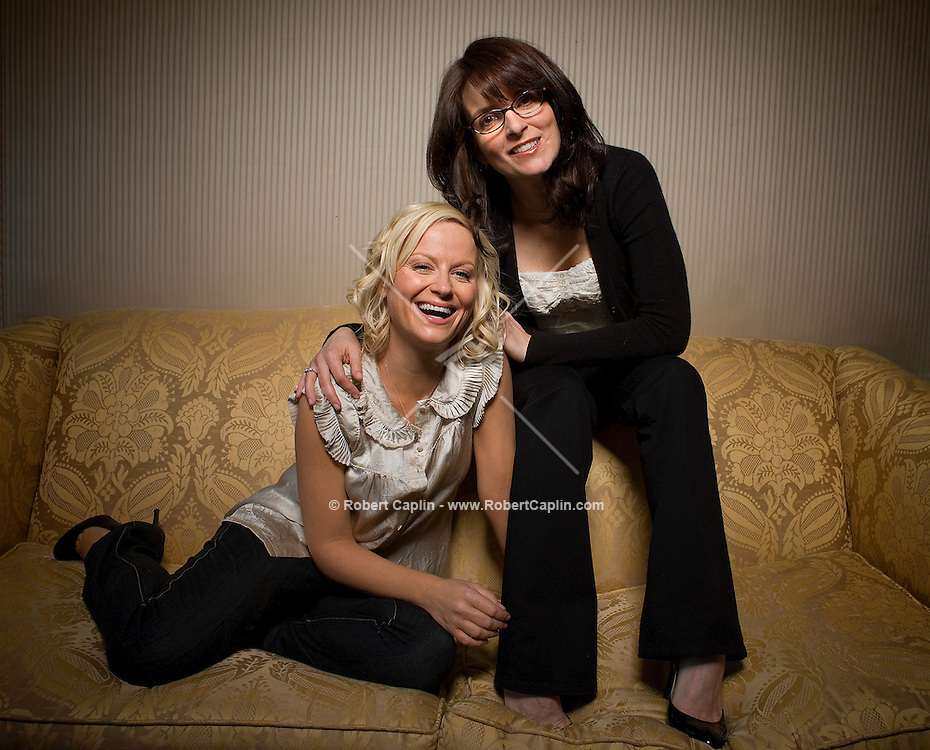 Tina Fey and Amy Poehler pose for a photo at the Ritz Carleton Hotel in New York April 14, 2008.