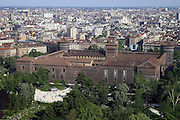 Italy, Milan, aerial photography of the city. Castello Sforzesco fortress in the foreground