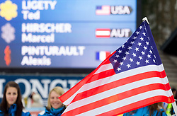 American flag for winner LIGETY Ted of USA at trophy ceremony after the 2nd Run of 7th Men's Giant Slalom - Pokal Vitranc 2013 of FIS Alpine Ski World Cup 2012/2013, on March 9, 2013 in Vitranc, Kranjska Gora, Slovenia. (Photo By Vid Ponikvar / Sportida.com)