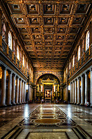"""""""The nave of the Basilica of Santa Maria Maggiore - Rome""""...<br /> <br /> The first major stop on my first visit to Rome was The Patriarchal Basilica of St. Mary Major, which reigns as an authentic jewel in the crown of Roman churches. Its beautiful treasures are of inestimable value and represent the Church's role as the cradle of Christian artistic civilization in Rome. For nearly sixteen centuries, St. Mary Major has held its position as a Marian shrine par excellence and has been a magnet for pilgrims from all over the world who have come to the Eternal City to experience the beauty, grandeur, and holiness of the Basilica."""