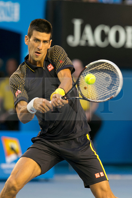 © Licensed to London News Pictures. 27/01/2013. Melbourne Park, Australia. Novak Djokovic during the Mens Final between Novak Djokovic and Andy Murray of the Australian Open. Photo credit : Asanka Brendon Ratnayake/LNP