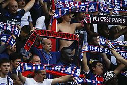 September 30, 2017 - Paris, France - Paris Saint-Germain's fans hold scarves during the French L1 football match between Paris Saint-Germain and Bordeaux at the Parc des Princes stadium in Paris on September 30, 2017. (Credit Image: © Geoffroy Van Der Hasselt/NurPhoto via ZUMA Press)