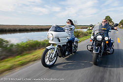Klock Werks' Vanessa Klock on her 2018 Harley-Davidson Softail Lowrider with a FXRP style fairing and Brian Klock on his Jack Daniels Limited Edition (no 177 of 177) Indian Chieftan he designed on a ride through Tomoka State Park during Daytona Beach Bike Week, FL. USA. Friday, March 15, 2019. Photography ©2019 Michael Lichter.