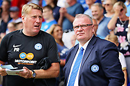 Peterborough United manager Steve Evans  the EFL Sky Bet League 1 match between Peterborough United and Luton Town at London Road, Peterborough, England on 18 August 2018.