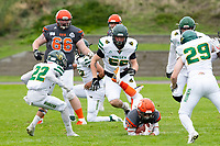 KELOWNA, BC - SEPTEMBER 22:  Kelton Kouri #38 of Okanagan Sun falls to the field with the ball against the Valley Huskers at the Apple Bowl on September 22, 2019 in Kelowna, Canada. (Photo by Marissa Baecker/Shoot the Breeze)