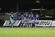 James Clarke of Bristol Rovers FC is congratulated as he puts Bristol Rovers  2-0 up during the Sky Bet League 2 match between Bristol Rovers and AFC Wimbledon at the Memorial Stadium, Bristol, England on 8 March 2016. Photo by Stuart Butcher.