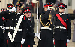 The Duke of Cambridge (2nd right) represents the Queen as the Reviewing Officer at The Sovereign's Parade at Royal Military Academy Sandhurst in Camberley.