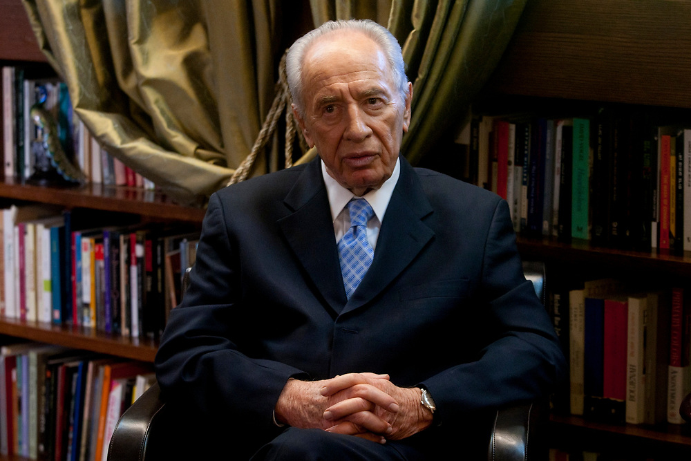 Israeli president Shimon Peres is seen during his meeting with Military Advocate General of the IDF, Major General Avichai Mendelblit (not seen in the photo), at the President's residence in Jerusalem on November 7, 2010. Peres invited Major General Avichai Mendelblit to his office in order to express his support for the legal system of the IDF, following a graffiti, painted on the walls of Mandelblit's home last week, labeling him a traitor.