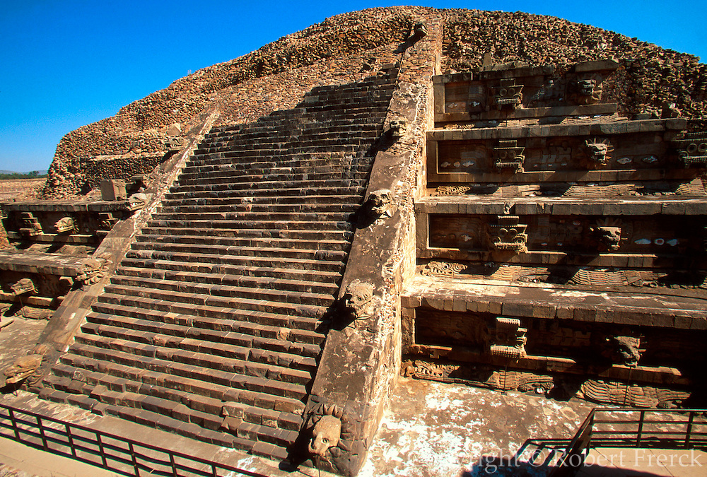 MEXICO, TEOTIHUACAN Temple of Quetzalcoatl sculpted facade
